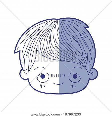 blue shading silhouette of kawaii head of little boy with embarrassed facial expression vector illustration