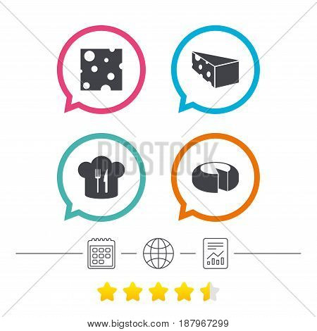 Cheese icons. Round cheese wheel sign. Sliced food with chief hat symbols. Calendar, internet globe and report linear icons. Star vote ranking. Vector