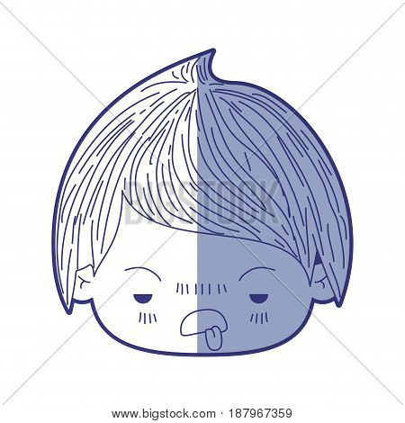 blue shading silhouette of kawaii head of little boy with unpleasant facial expression vector illustration