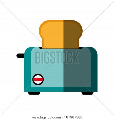 electric toaster with bread slice kitchen appliance icon image vector illustration design