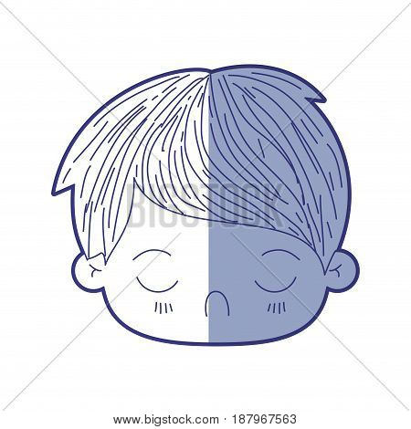 blue shading silhouette of kawaii head of little boy with facial expression disgust with closed eyes vector illustration