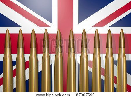 Flag of england to the background with foreground projectiles, 3D rendering