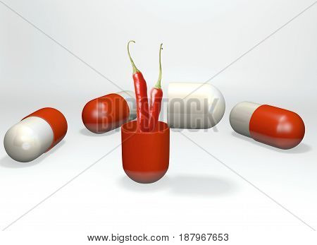 Pepper coming out of capsule, 3D rendering