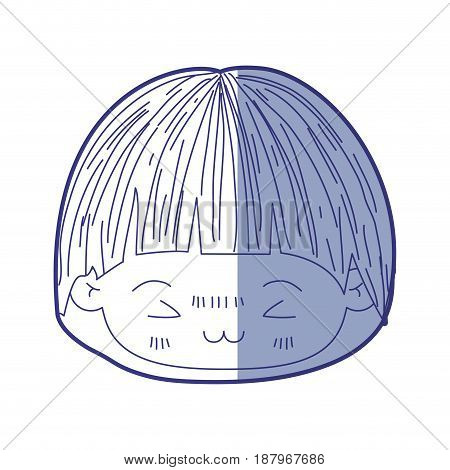 blue shading silhouette of kawaii head of little boy with mushroom hairstyle and facial expression furious vector illustration