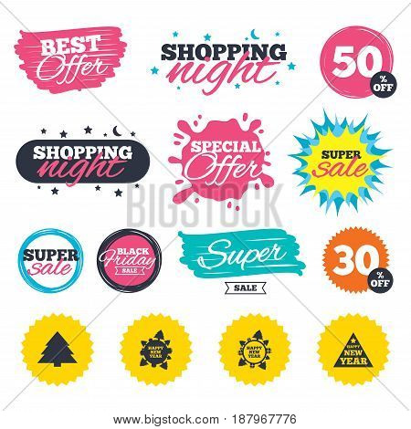 Sale shopping banners. Special offer splash. Happy new year icon. Christmas trees signs. World globe symbol. Web badges and stickers. Best offer. Vector