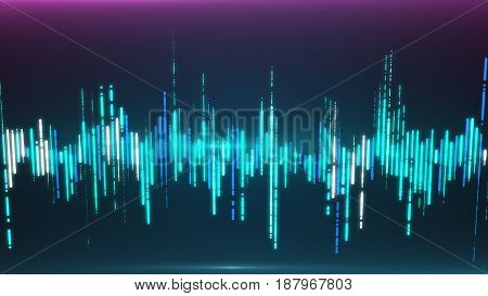Single Colorful Eq, Equalizer Element Isolated On Dark Background.  Sound Audio Wave, Frequency, Mel