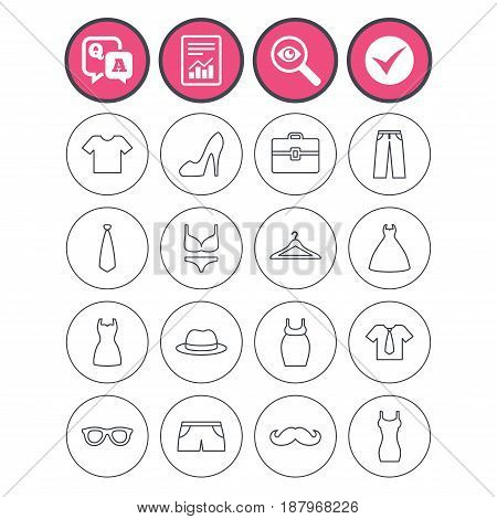 Question and answer, check tick and report signs. Clothes and accessories icons. Shirt with tie, pants and woman dress symbols. Hat, hanger and glasses thin outline signs. Vector