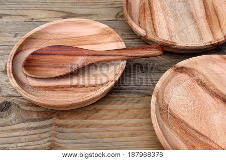 Group of wood plate on the table