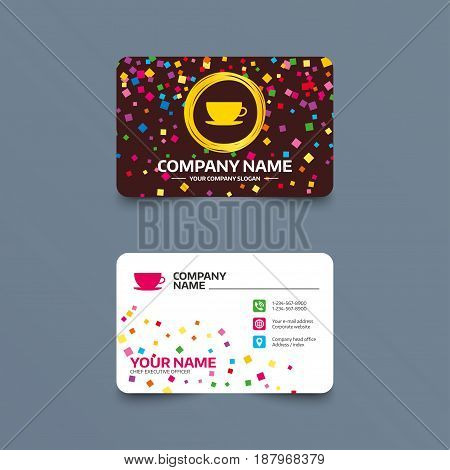 Business card template with confetti pieces. Coffee cup sign icon. Coffee button. Phone, web and location icons. Visiting card  Vector