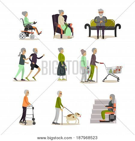Vector set of aged people cartoon characters isolated on white background. Elderly men and women icons, flat style design elements.