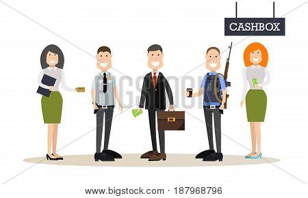 Vector illustration of bank staff and customers males and females. Bank people concept flat style design elements, icons isolated on white background.