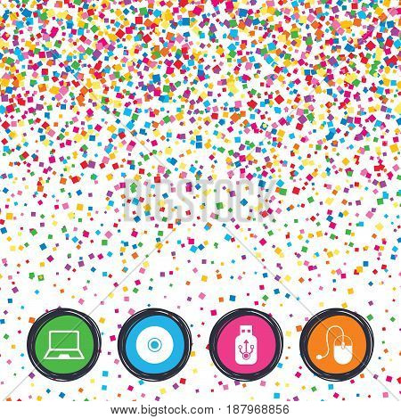 Web buttons on background of confetti. Notebook pc and Usb flash drive stick icons. Computer mouse and CD or DVD sign symbols. Bright stylish design. Vector