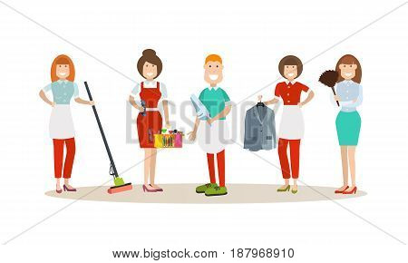 Vector illustration of cleaning company staff cartoon characters. Cleaning people concept flat style design elements, icons isolated on white background.