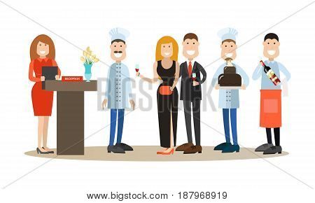 Restaurant people vector illustration. Manager, chef, cook, waiter, confectioner and guests man and woman with wineglasses flat style cartoon characters isolated on white background.