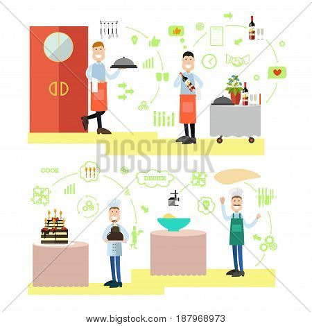 Vector illustration of waiters serving dish and wine, confectioner holding cake and baker making dough. Restaurant people, cooking flat symbols, icons isolated on white background.