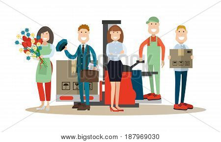 Vector illustration of postal service manager, postman, loader, packager and florist. Delivery people concept flat style design elements, icons isolated on white background.