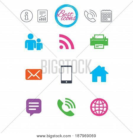 Information, report and calendar signs. Contact, mail icons. Communication signs. E-mail, chat message and phone call symbols. Classic simple flat web icons. Vector
