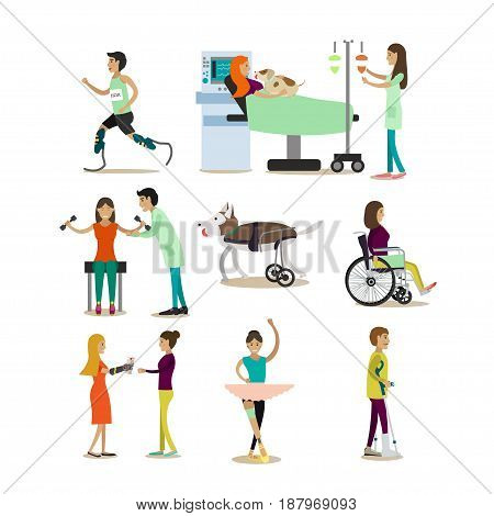 Vector set of disabled people characters isolated on white background. Handicapped men and women getting medical treatment, doing sports and making arts with limb prosthetics flat symbols, icons.