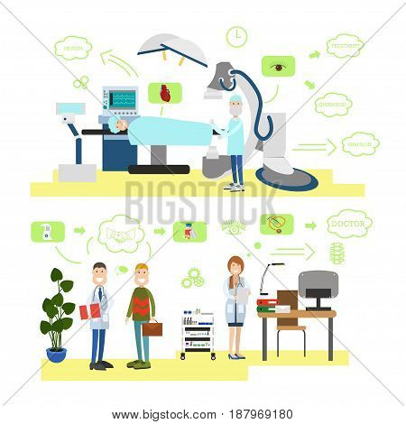 Vector set of medical staff providing health care to patients. Surgeon ready to operate his patient, visiting doctor therapist flat style design elements, icons isolated on white background.