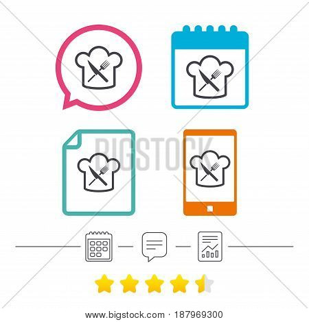 Chef hat sign icon. Cooking symbol. Cooks hat with fork and knife. Calendar, chat speech bubble and report linear icons. Star vote ranking. Vector