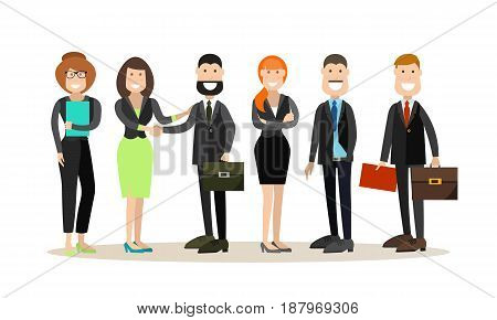 Vector illustration of office staff, group of smiling businessmen and businesswomen. Office people flat style design elements, icons isolated on white background.