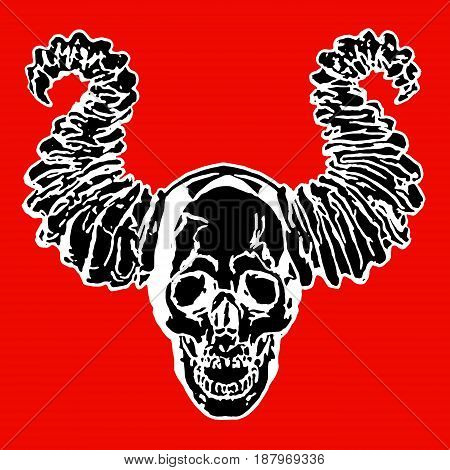 Skull of a demon with horns. Vector illustration. The horror picture to Halloween. Red background