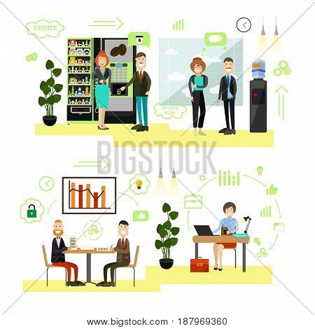 Vector illustration of office people taking break, signing contract, working on computer at workplace. Business people, symbols, icons isolated on white background. Flat style design elements.