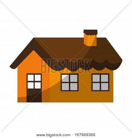 cute one story house with chimney icon image vector illustration design