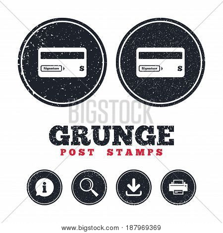 Grunge post stamps. Credit card sign icon. Debit card symbol. Virtual money. Information, download and printer signs. Aged texture web buttons. Vector