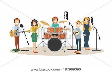 Vector illustration of singers, instrumental musicians recording tracks at recording studio or radio studio. People in headphones flat style design elements, icons isolated on white background.
