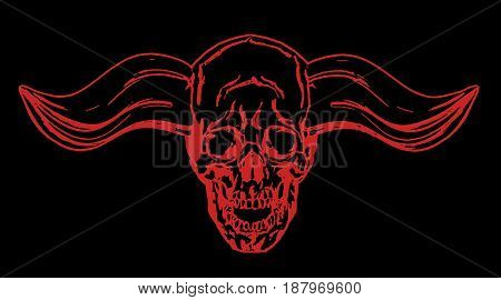 Apocalyptic skull with bullish horns. Vector illustration. Black background.