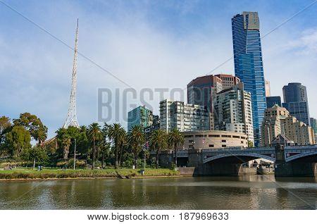 Melbourne Southbank Cityscape On Sunny Day