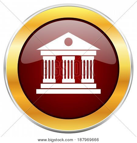 Museum red web icon with golden border isolated on white background. Round glossy button.