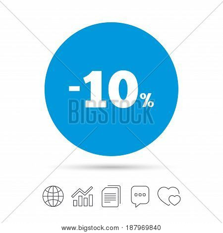10 percent discount sign icon. Sale symbol. Special offer label. Copy files, chat speech bubble and chart web icons. Vector