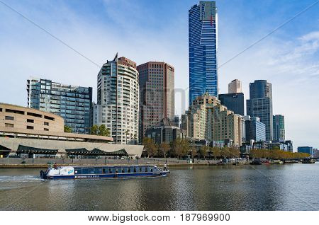 Melbourne River Cruises Boat With Melbourne Cityscape On The Background