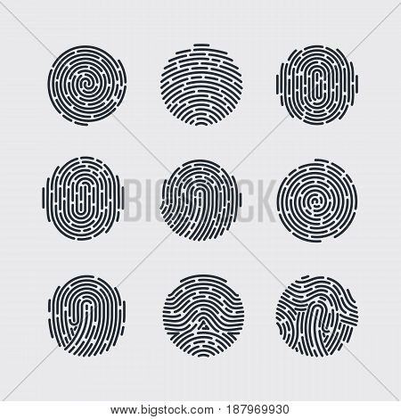 Round Fingerprint Patterns for Identity Person Security ID on Gray for Design