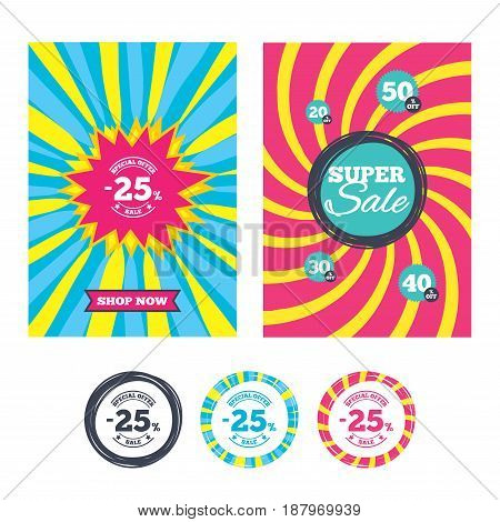 Sale banners and labels. Special offer tags. 25 percent discount sign icon. Sale symbol. Special offer label. Colored web buttons. Vector