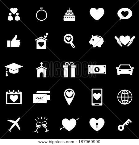 Family icons on black background, stock vector