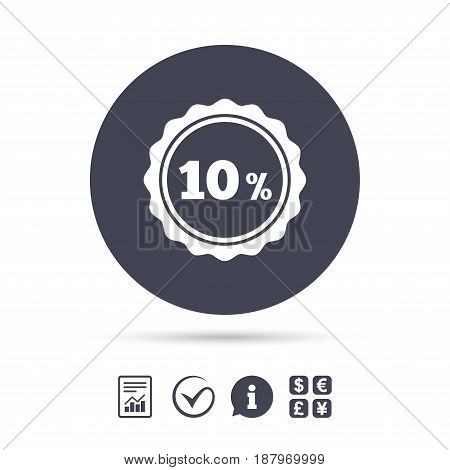 10 percent discount sign icon. Sale symbol. Special offer label. Report document, information and check tick icons. Currency exchange. Vector