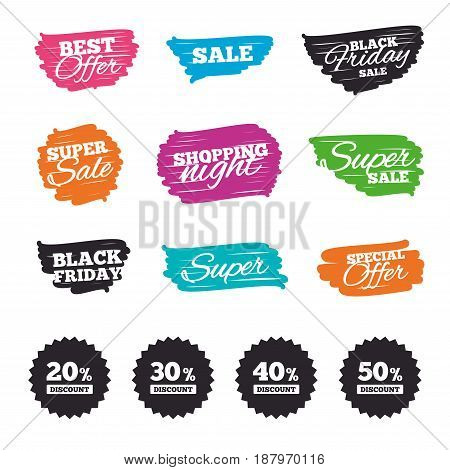 Ink brush sale banners and stripes. Sale discount icons. Special offer price signs. 20, 30, 40 and 50 percent off reduction symbols. Special offer. Ink stroke. Vector
