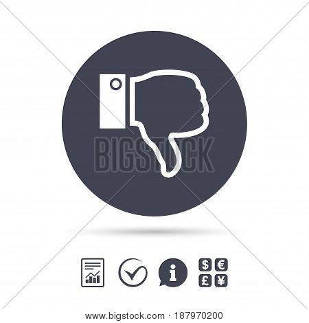 Dislike sign icon. Thumb down sign. Hand finger down symbol. Report document, information and check tick icons. Currency exchange. Vector