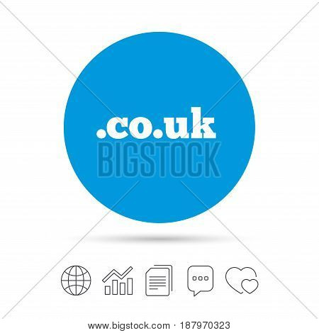 Domain CO.UK sign icon. UK internet subdomain symbol. Copy files, chat speech bubble and chart web icons. Vector