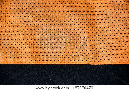 Sport Clothing Fabric Texture Background, Top View Of Orange Cloth Textile Surface