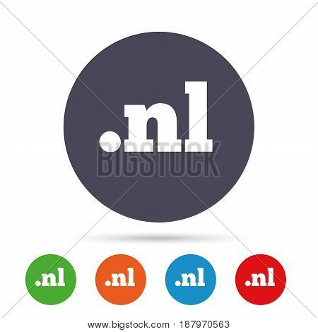 Domain NL sign icon. Top-level internet domain symbol. Round colourful buttons with flat icons. Vector