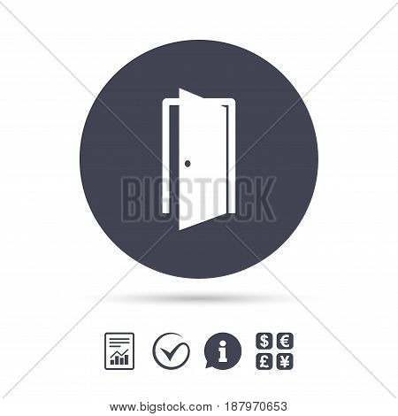 Door sign icon. Enter or exit symbol. Internal door. Report document, information and check tick icons. Currency exchange. Vector