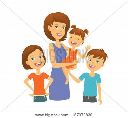 Mother with kids. Happy family. Mom with children