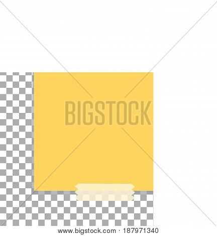 paper sheet on sticky tape with transparent shadow. office paper sheet with shadow isolated on a transparent background.