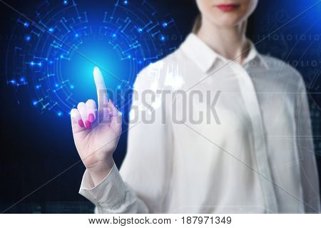 Business Woman Touching Virtual Screen