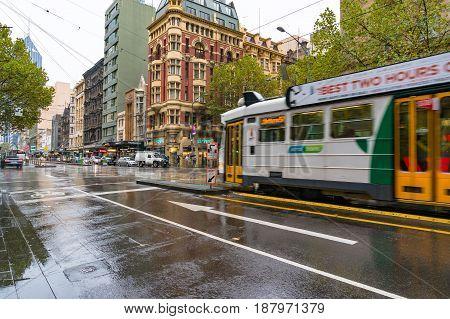 Melbourne Tramway On Elizabeth Street On Rainy Weather
