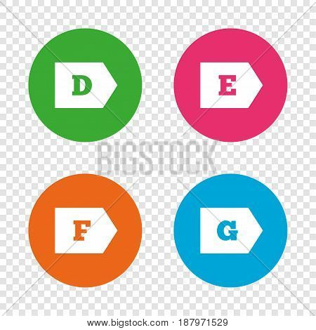 Energy efficiency class icons. Energy consumption sign symbols. Class D, E, F and G. Round buttons on transparent background. Vector